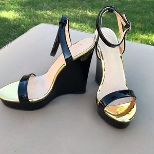 Black Patent and Gold Ankle Strap Wedge by Liliana